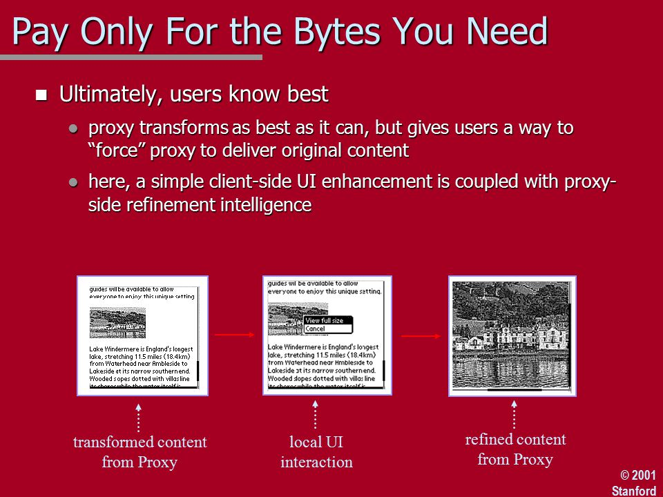 © 2001 Stanford Pay Only For the Bytes You Need n Ultimately, users know best l proxy transforms as best as it can, but gives users a way to force proxy to deliver original content l here, a simple client-side UI enhancement is coupled with proxy- side refinement intelligence transformed content from Proxy refined content from Proxy local UI interaction