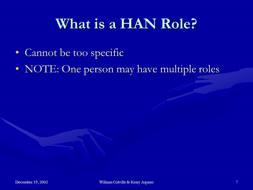 December 19, 2002William Colville & Kerry Aquino7 What is a HAN Role.
