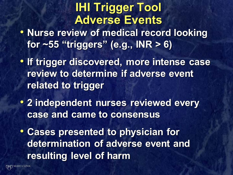 "IHI Trigger Tool Adverse Events Nurse review of medical record looking for ~55 ""triggers"" (e.g., INR > 6) Nurse review of medical record looking for ~"