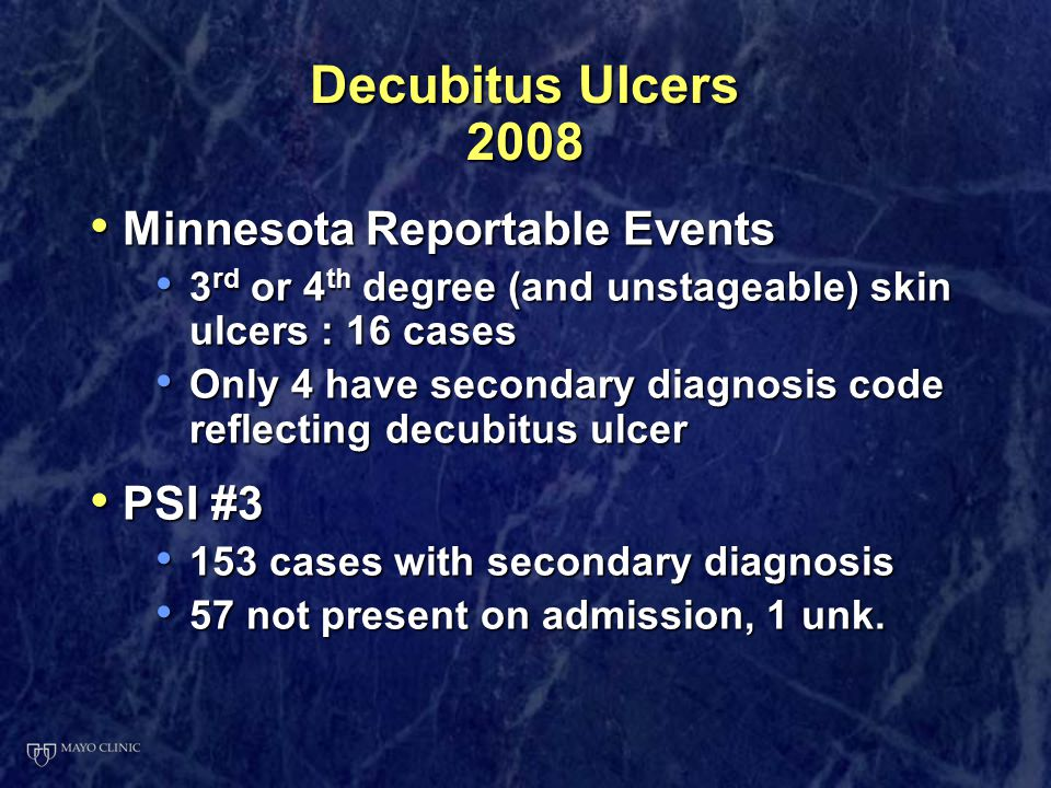Decubitus Ulcers 2008 Minnesota Reportable Events Minnesota Reportable Events 3 rd or 4 th degree (and unstageable) skin ulcers : 16 cases 3 rd or 4 t