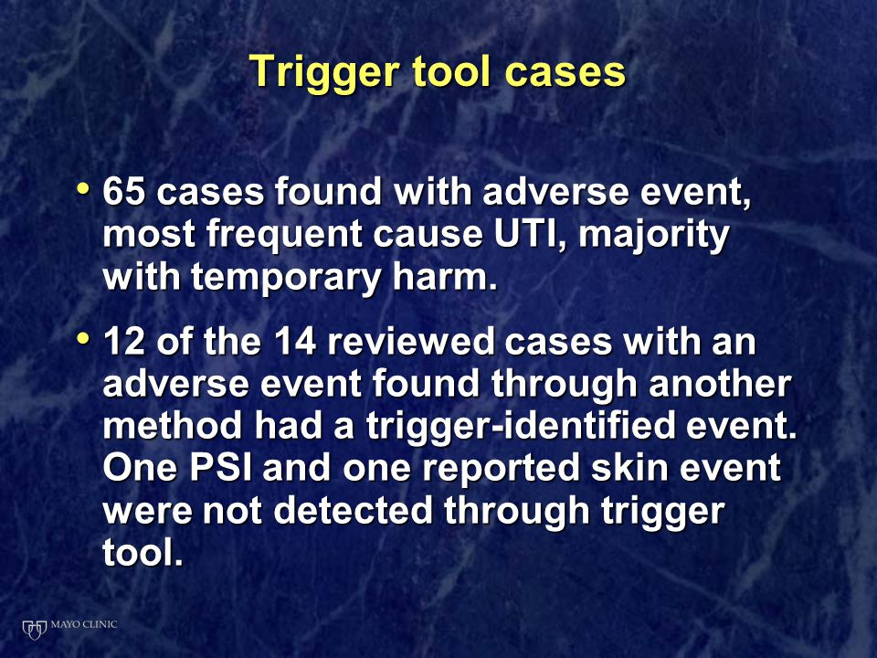 Trigger tool cases 65 cases found with adverse event, most frequent cause UTI, majority with temporary harm. 65 cases found with adverse event, most f