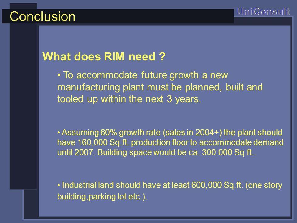 Conclusion UniConsult What does RIM need .