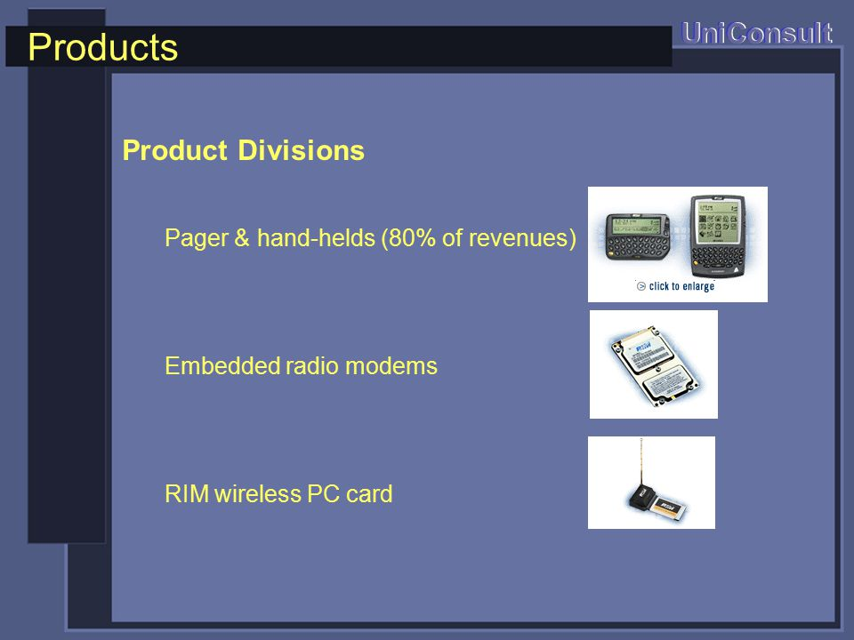 Products UniConsult Product Divisions Pager & hand-helds (80% of revenues) Embedded radio modems RIM wireless PC card