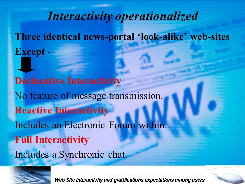 Interactivity operationalized Three identical news-portal 'look-alike' web-sites Except - Declarative Interactivity No feature of message transmission.