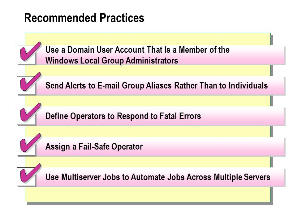 Use a Domain User Account That Is a Member of the Windows Local Group Administrators Send Alerts to E-mail Group Aliases Rather Than to Individuals Define Operators to Respond to Fatal Errors Assign a Fail-Safe Operator Use Multiserver Jobs to Automate Jobs Across Multiple Servers Recommended Practices