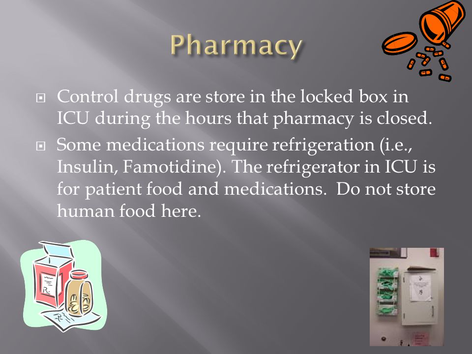  Control drugs are store in the locked box in ICU during the hours that pharmacy is closed.