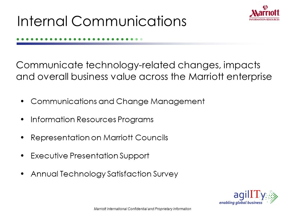 Marriott International Confidential and Proprietary Information Internal Communications Communications and Change Management Information Resources Pro
