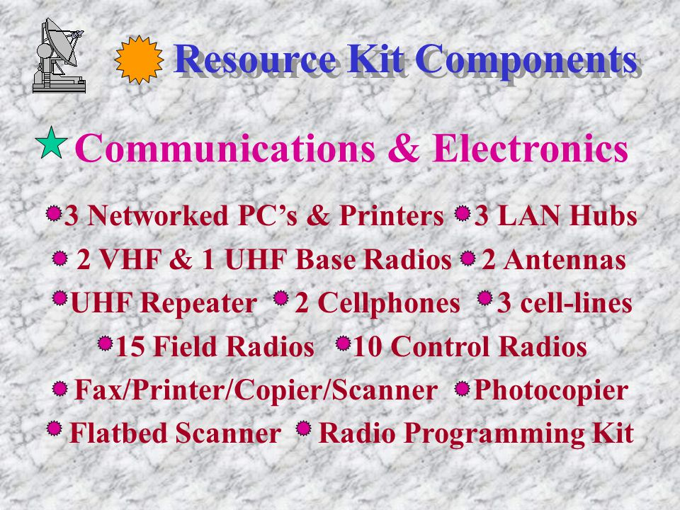 Resource Kit Components Communications & Electronics 3 Networked PC's & Printers 3 LAN Hubs 2 VHF & 1 UHF Base Radios 2 Antennas UHF Repeater 2 Cellphones 3 cell-lines 15 Field Radios 10 Control Radios Fax/Printer/Copier/Scanner Photocopier Flatbed Scanner Radio Programming Kit