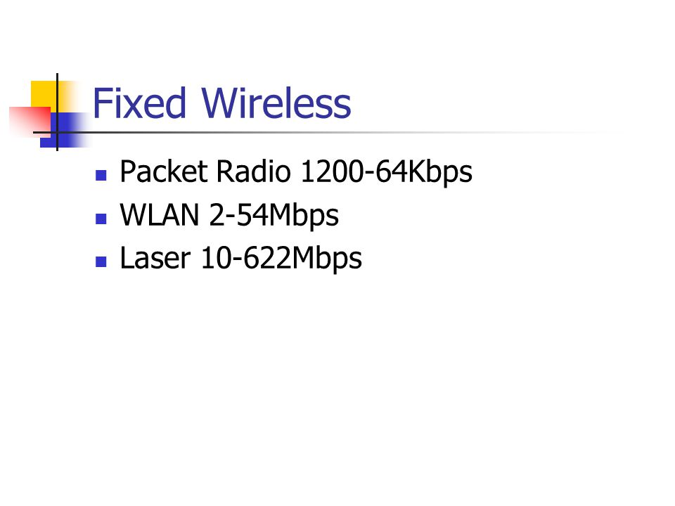 Fixed Wireless Packet Radio 1200-64Kbps WLAN 2-54Mbps Laser 10-622Mbps