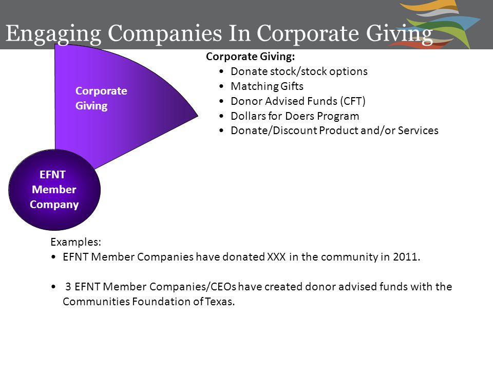 EFNT Member Company Corporate Giving Examples: EFNT Member Companies have donated XXX in the community in 2011.
