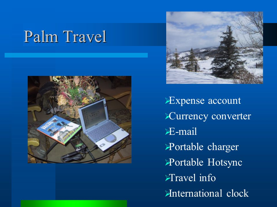  Expense account  Currency converter  E-mail  Portable charger  Portable Hotsync  Travel info  International clock