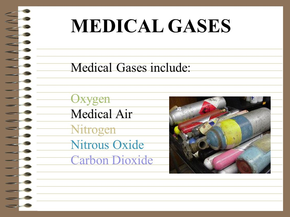 MEDICAL GASES Medical Gases include: Oxygen Medical Air Nitrogen Nitrous Oxide Carbon Dioxide
