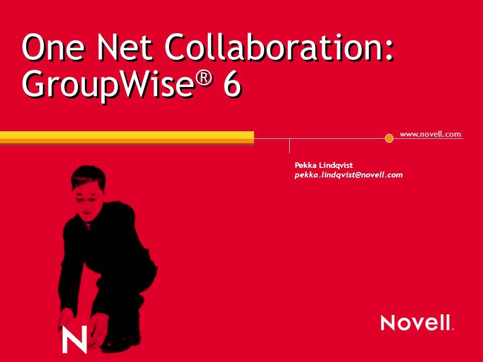 www.novell.com Pekka Lindqvist pekka.lindqvist@novell.com One Net Collaboration: GroupWise ® 6