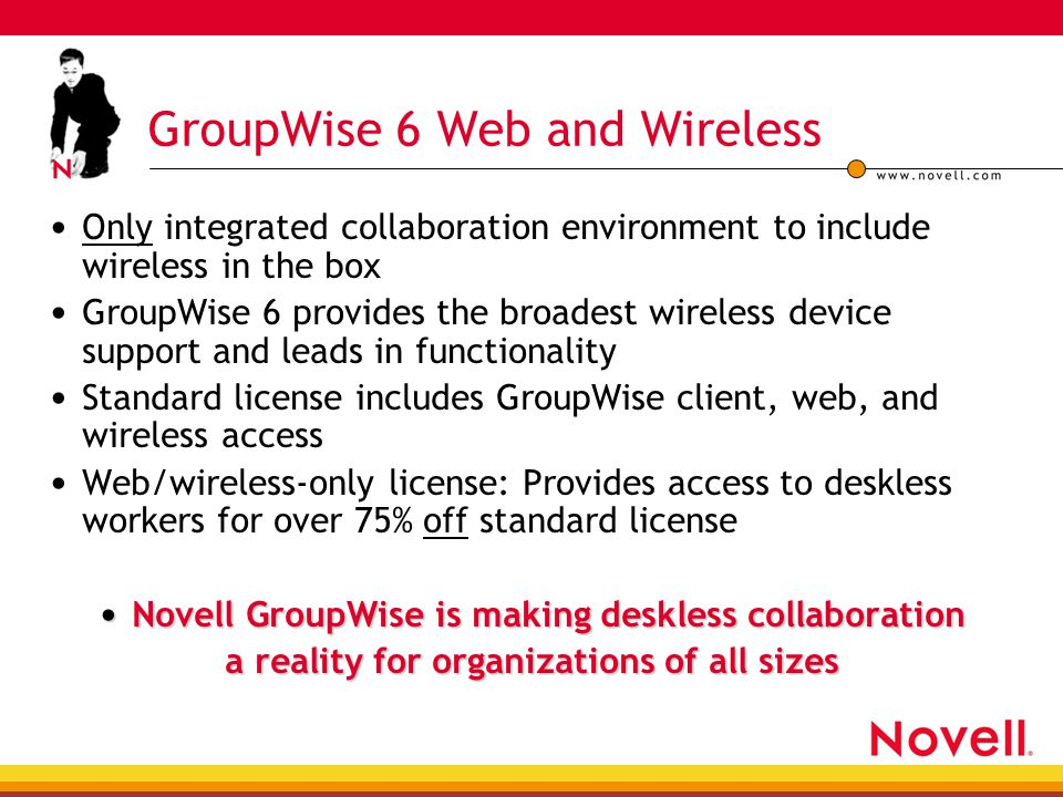 GroupWise 6 Web and Wireless Only integrated collaboration environment to include wireless in the box GroupWise 6 provides the broadest wireless devic