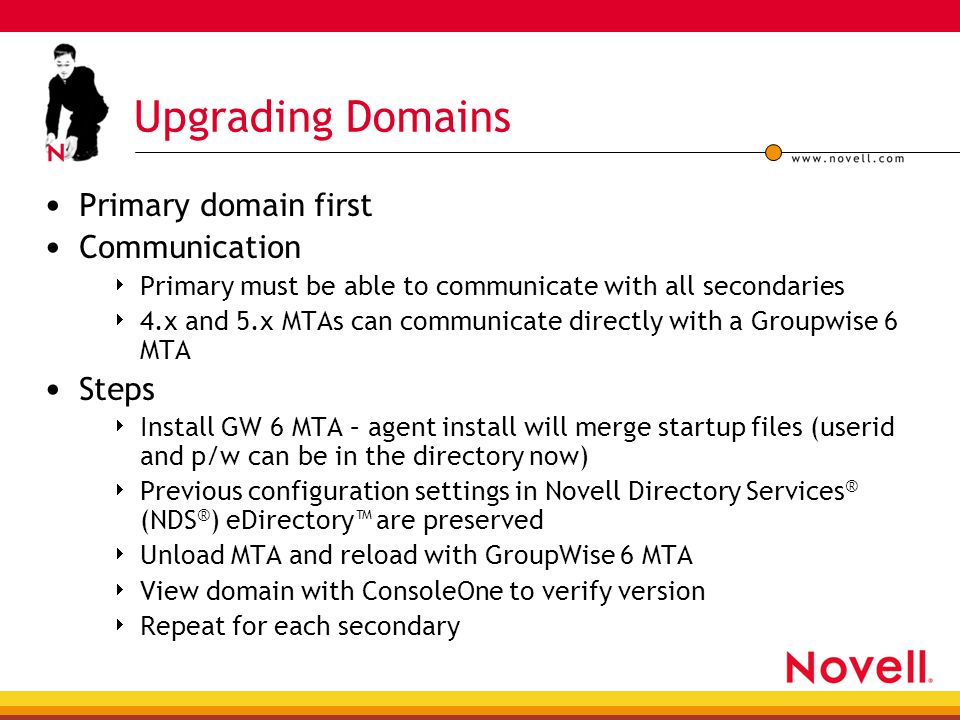 Upgrading Domains Primary domain first Communication  Primary must be able to communicate with all secondaries  4.x and 5.x MTAs can communicate dir