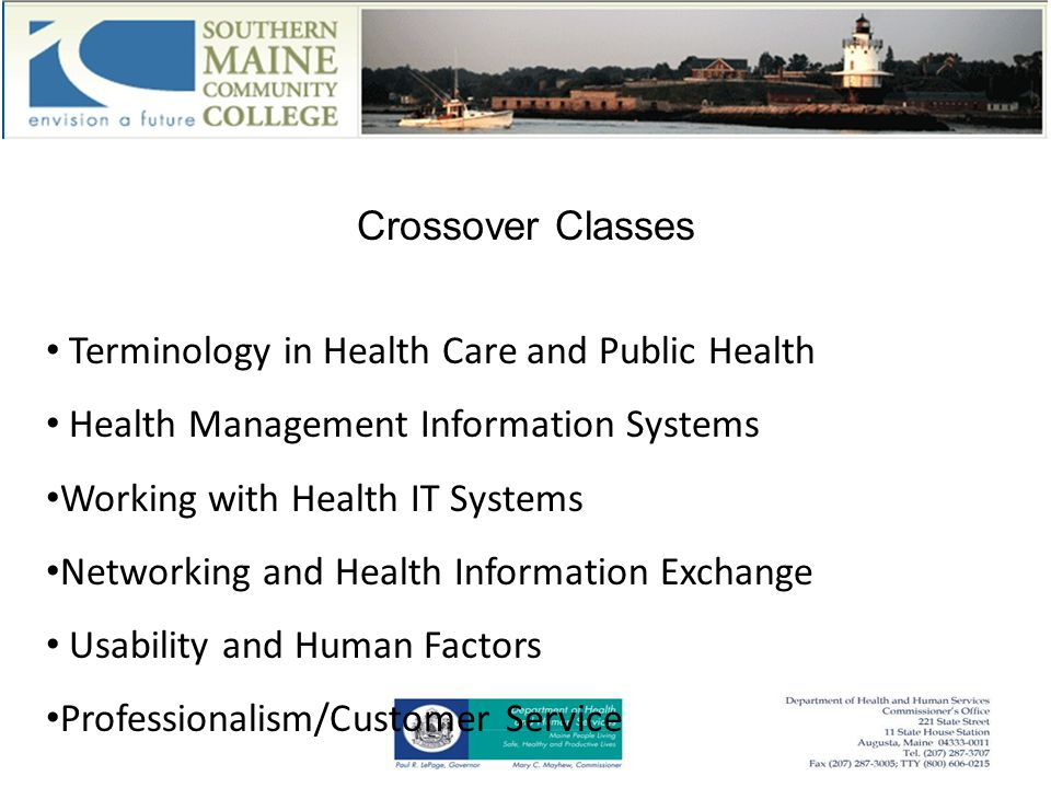 Crossover Classes Terminology in Health Care and Public Health Health Management Information Systems Working with Health IT Systems Networking and Health Information Exchange Usability and Human Factors Professionalism/Customer Service
