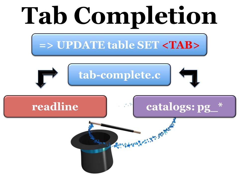 Tab Completion tab-complete.creadlinecatalogs: pg_* => UPDATE table SET