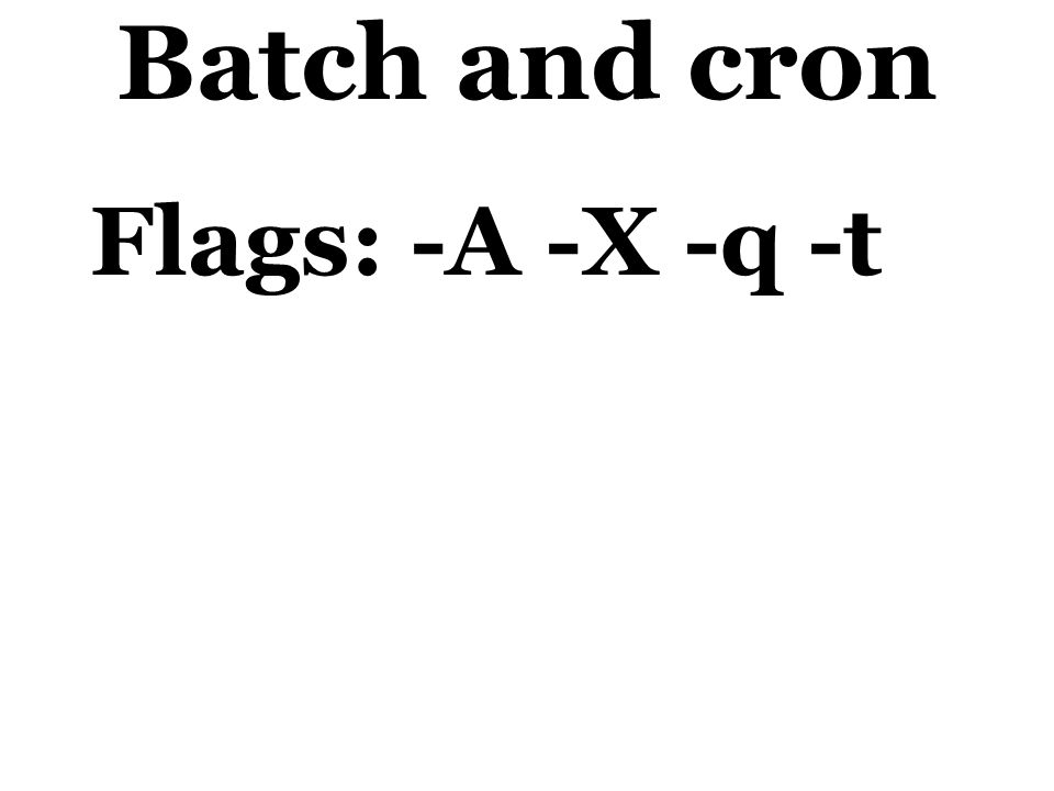 Batch and cron Flags: -A -X -q -t