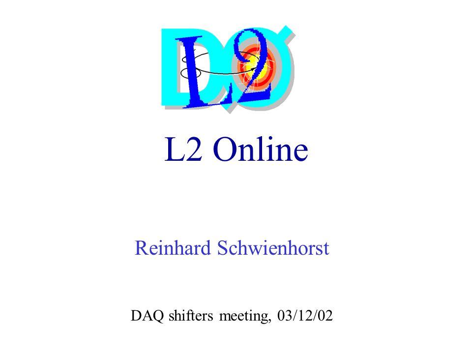 L2 Online Reinhard Schwienhorst DAQ shifters meeting, 03/12/02