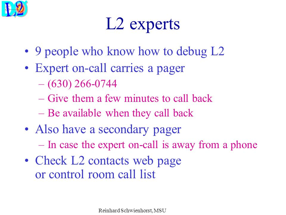 Reinhard Schwienhorst, MSU L2 experts 9 people who know how to debug L2 Expert on-call carries a pager –(630) 266-0744 –Give them a few minutes to cal