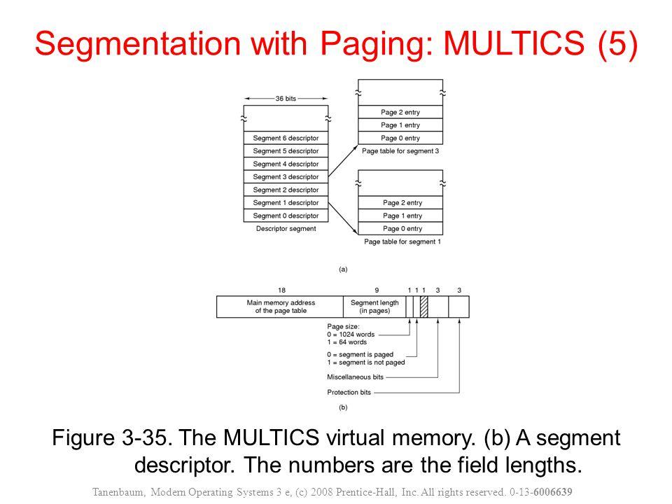 Figure 3-35. The MULTICS virtual memory. (b) A segment descriptor. The numbers are the field lengths. Segmentation with Paging: MULTICS (5) Tanenbaum,