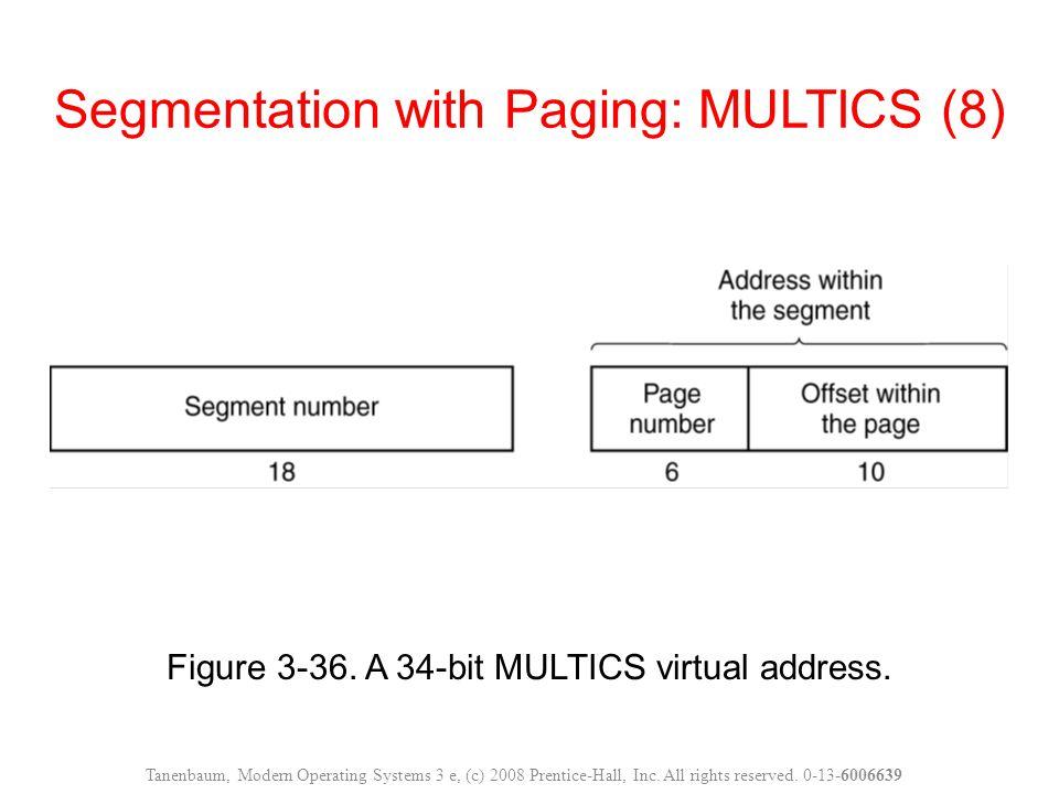 Figure 3-36. A 34-bit MULTICS virtual address. Segmentation with Paging: MULTICS (8) Tanenbaum, Modern Operating Systems 3 e, (c) 2008 Prentice-Hall,