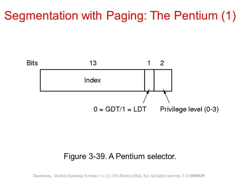 Figure 3-39. A Pentium selector. Segmentation with Paging: The Pentium (1) Tanenbaum, Modern Operating Systems 3 e, (c) 2008 Prentice-Hall, Inc. All r