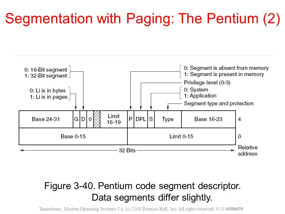 Figure 3-40. Pentium code segment descriptor. Data segments differ slightly. Segmentation with Paging: The Pentium (2) Tanenbaum, Modern Operating Sys