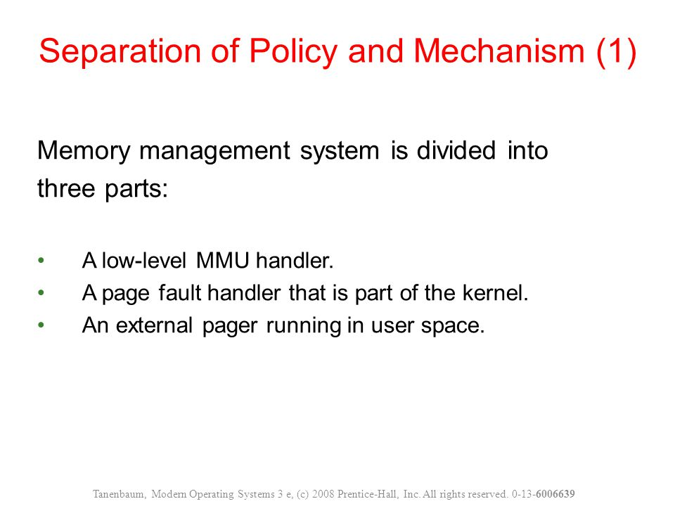 Memory management system is divided into three parts: A low-level MMU handler.