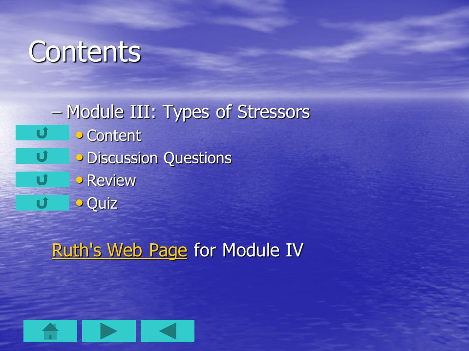 Contents –Module III: Types of Stressors Content Content Discussion Questions Discussion Questions Review Review Quiz Quiz Ruth s Web PageRuth s Web Page for Module IV Ruth s Web Page