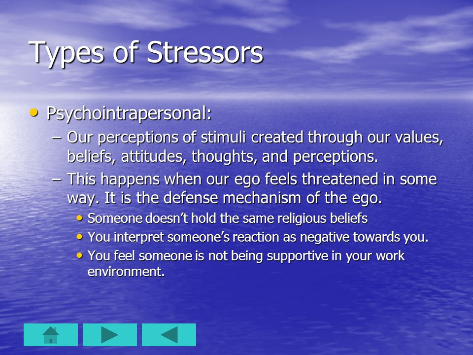 Types of Stressors Psychointrapersonal: Psychointrapersonal: –Our perceptions of stimuli created through our values, beliefs, attitudes, thoughts, and
