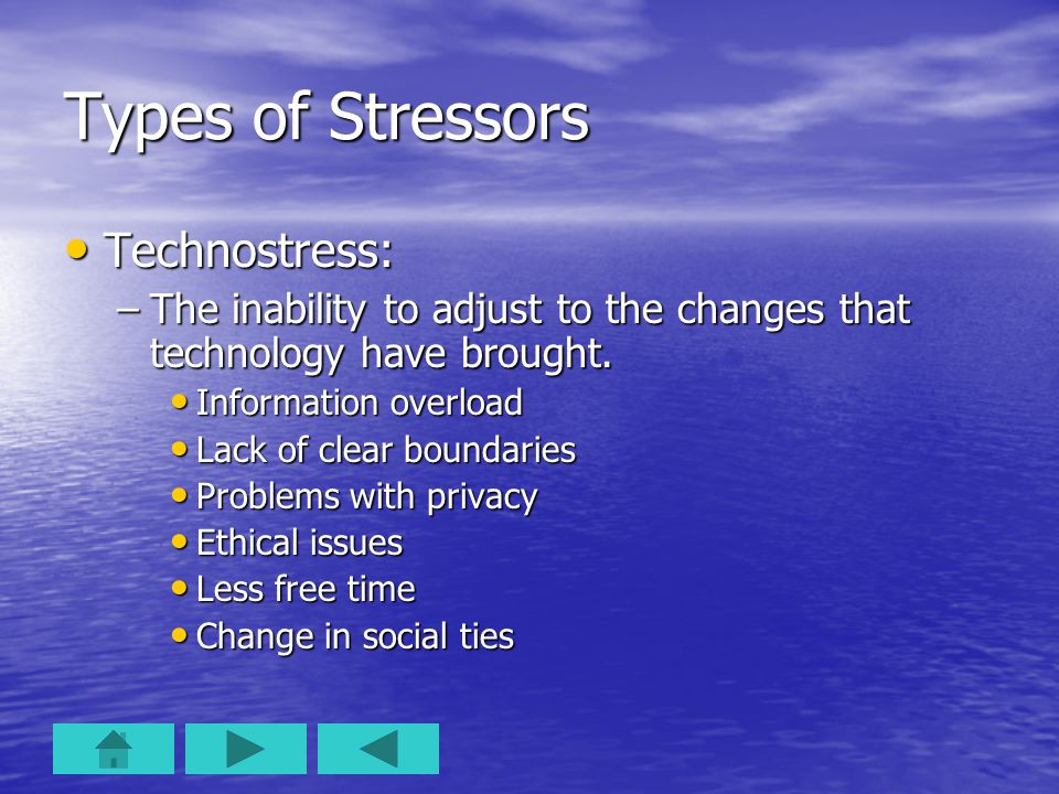 Types of Stressors Technostress: Technostress: –The inability to adjust to the changes that technology have brought.