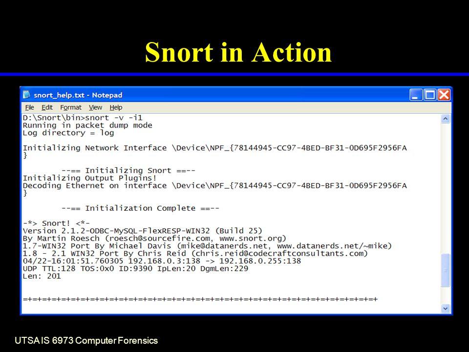 UTSA IS 6973 Computer Forensics Snort in Action