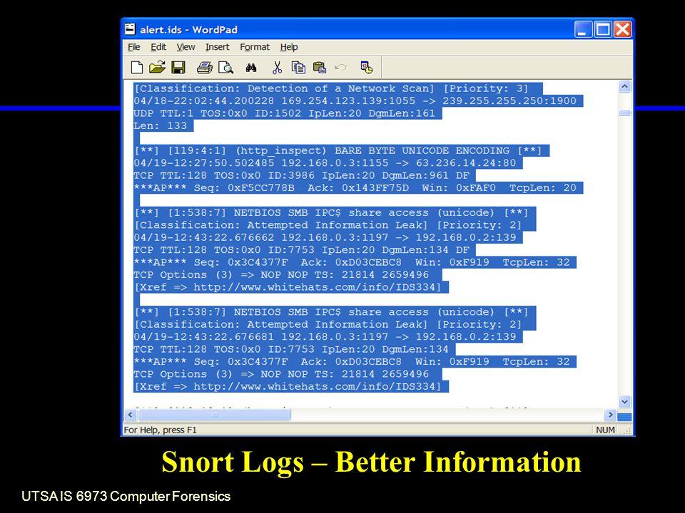 UTSA IS 6973 Computer Forensics Snort Logs – Better Information