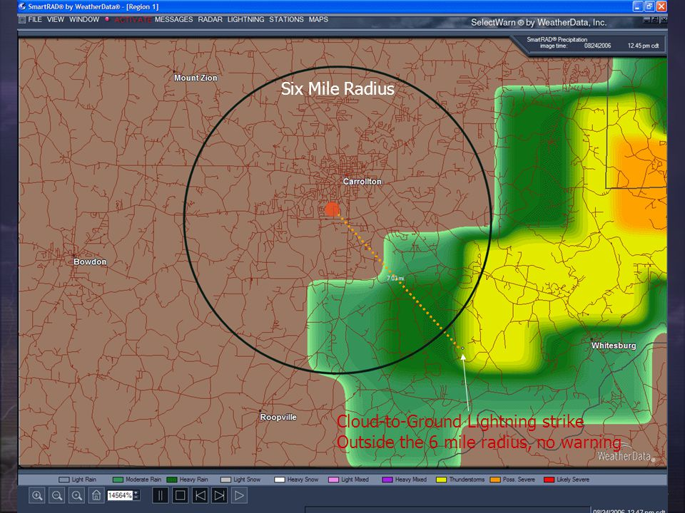 Six Mile Radius Cloud-to-Ground Lightning strike Outside the 6 mile radius, no warning