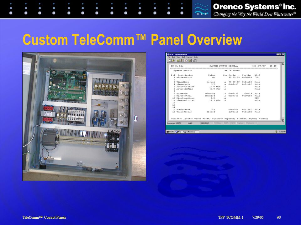 TeleComm™ Control PanelsTPP-TCOMM-17/29/05#4 The Custom TeleComm™ Solution  Standalone real-time monitoring and control of systems  Low cost  Open access  Dedicated phone line  Varies from standard VeriComm ® panels