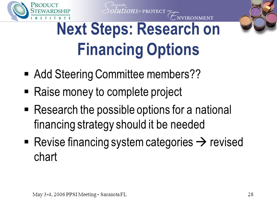 May 3-4, 2006 PPSI Meeting - Sarasota FL28 Next Steps: Research on Financing Options  Add Steering Committee members .