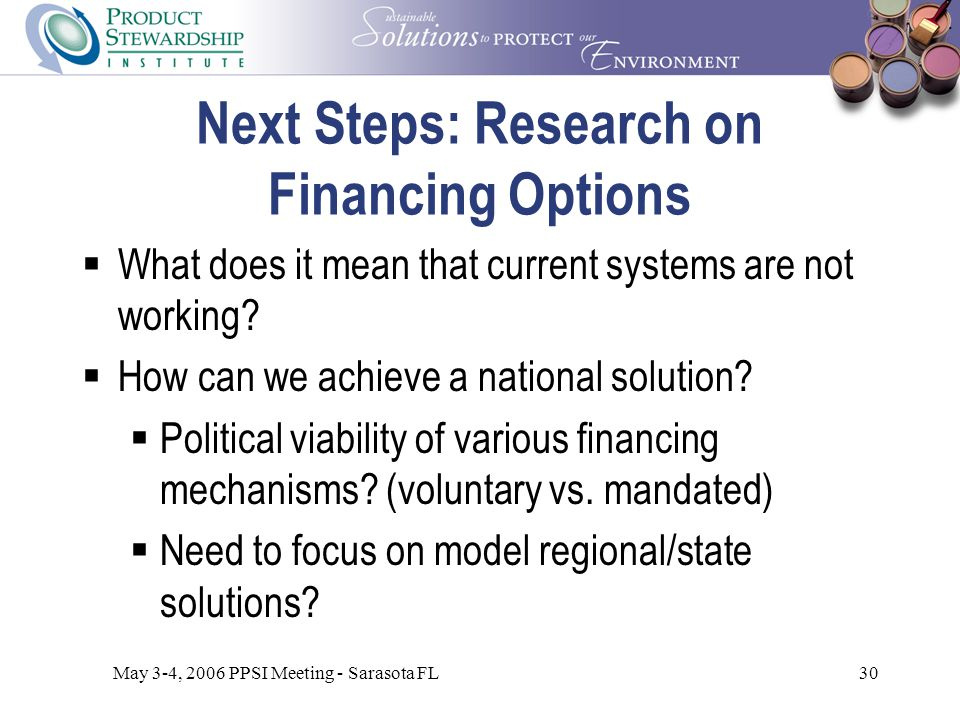 May 3-4, 2006 PPSI Meeting - Sarasota FL30 Next Steps: Research on Financing Options  What does it mean that current systems are not working.