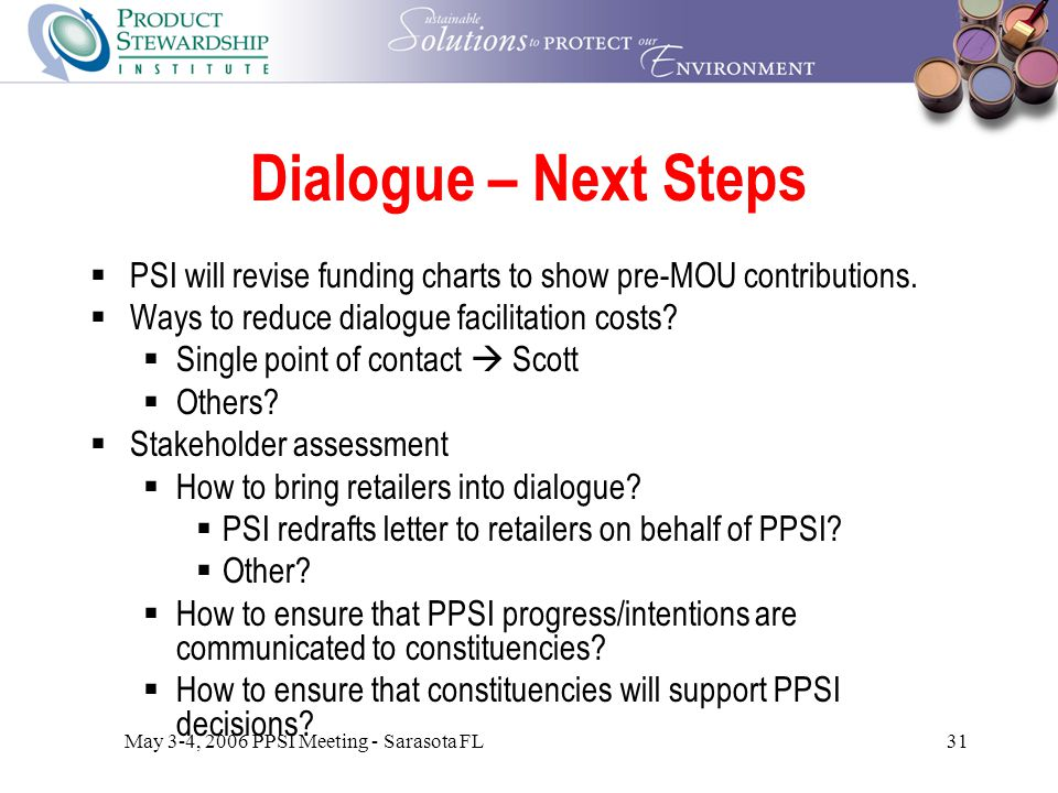May 3-4, 2006 PPSI Meeting - Sarasota FL31 Dialogue – Next Steps  PSI will revise funding charts to show pre-MOU contributions.
