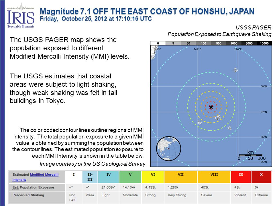 USGS PAGER Population Exposed to Earthquake Shaking Image courtesy of the US Geological Survey The USGS PAGER map shows the population exposed to different Modified Mercalli Intensity (MMI) levels.