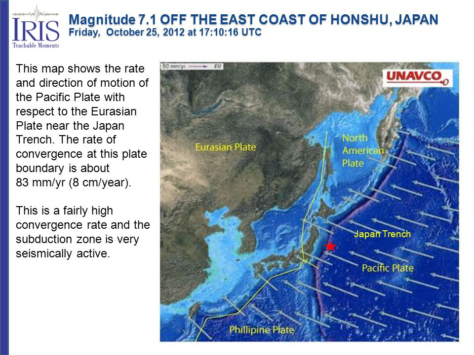 This map shows the rate and direction of motion of the Pacific Plate with respect to the Eurasian Plate near the Japan Trench.