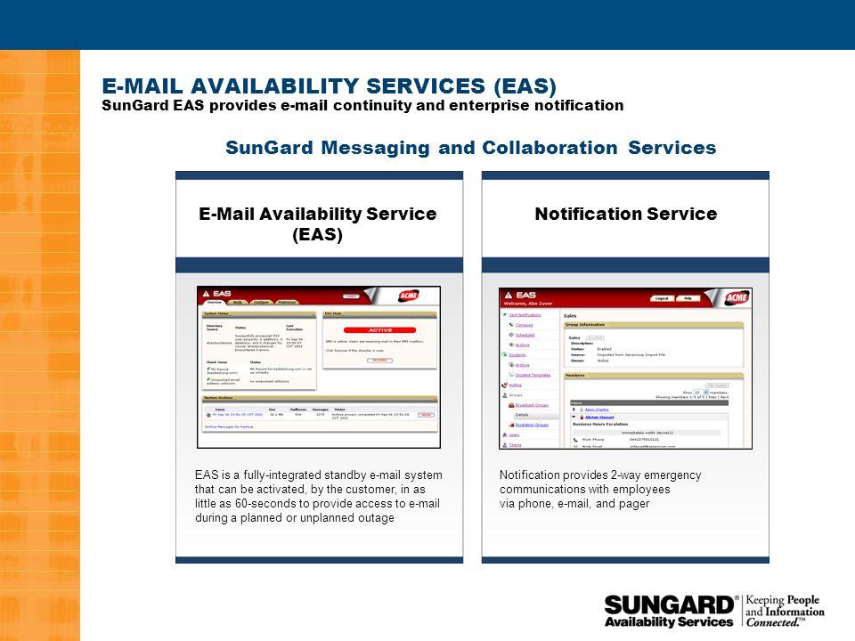 3 SUNGARD NOTIFICATION SERVICE SunGard Notification Service provides the communication backbone for crisis management