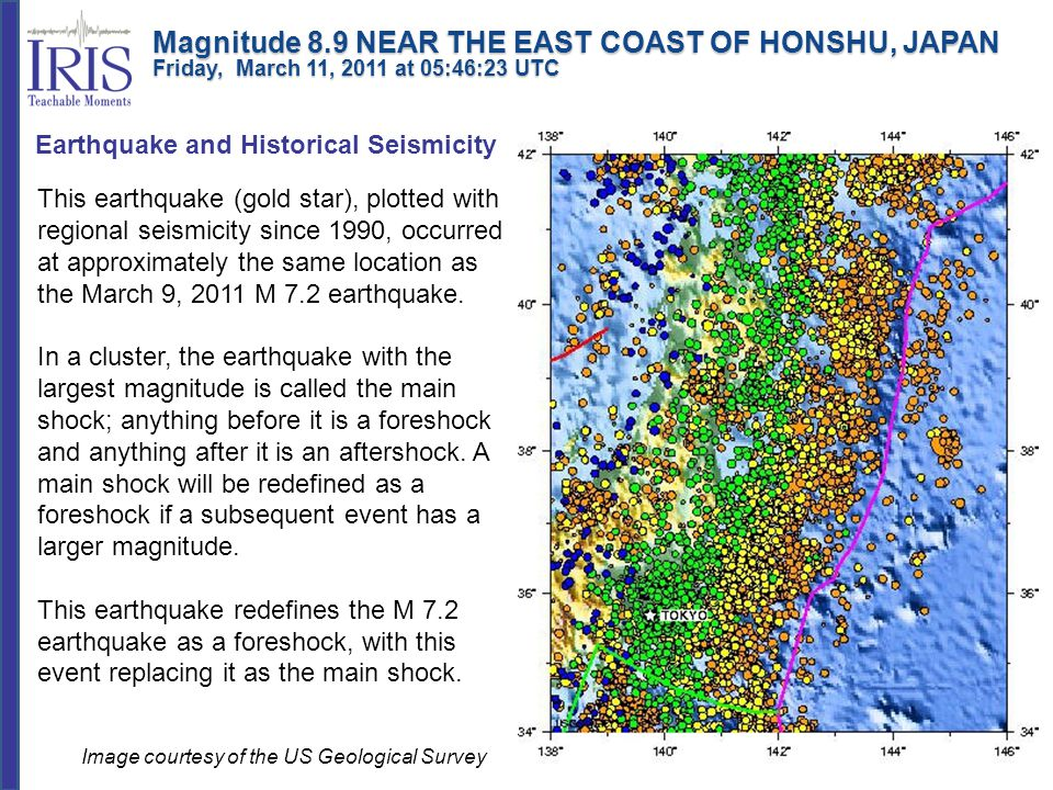 This earthquake (gold star), plotted with regional seismicity since 1990, occurred at approximately the same location as the March 9, 2011 M 7.2 earth