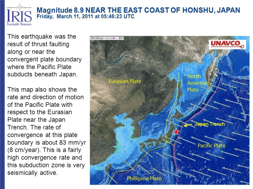 This earthquake was the result of thrust faulting along or near the convergent plate boundary where the Pacific Plate subducts beneath Japan.