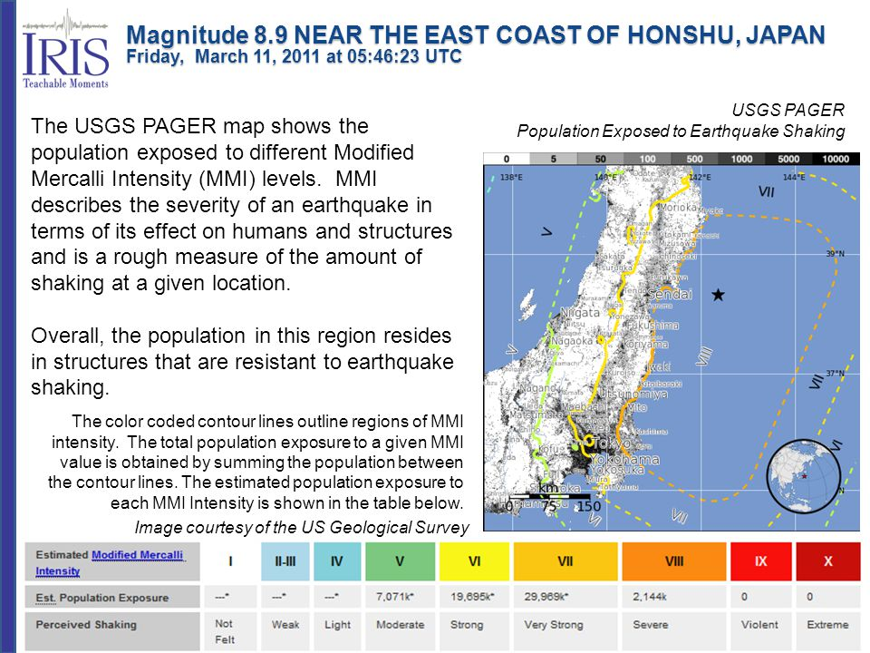 USGS PAGER Population Exposed to Earthquake Shaking Image courtesy of the US Geological Survey The USGS PAGER map shows the population exposed to diff