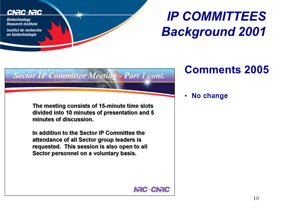 10 IP COMMITTEES Background 2001 Comments 2005 No change