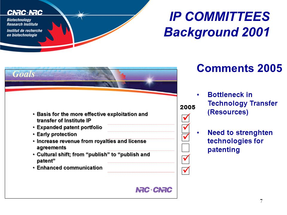 7 IP COMMITTEES Background 2001 Comments 2005 Bottleneck in Technology Transfer (Resources) Need to strenghten technologies for patenting 2005