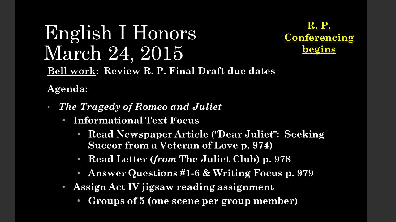 English I Honors March 24, 2015 Bell work: Review R.