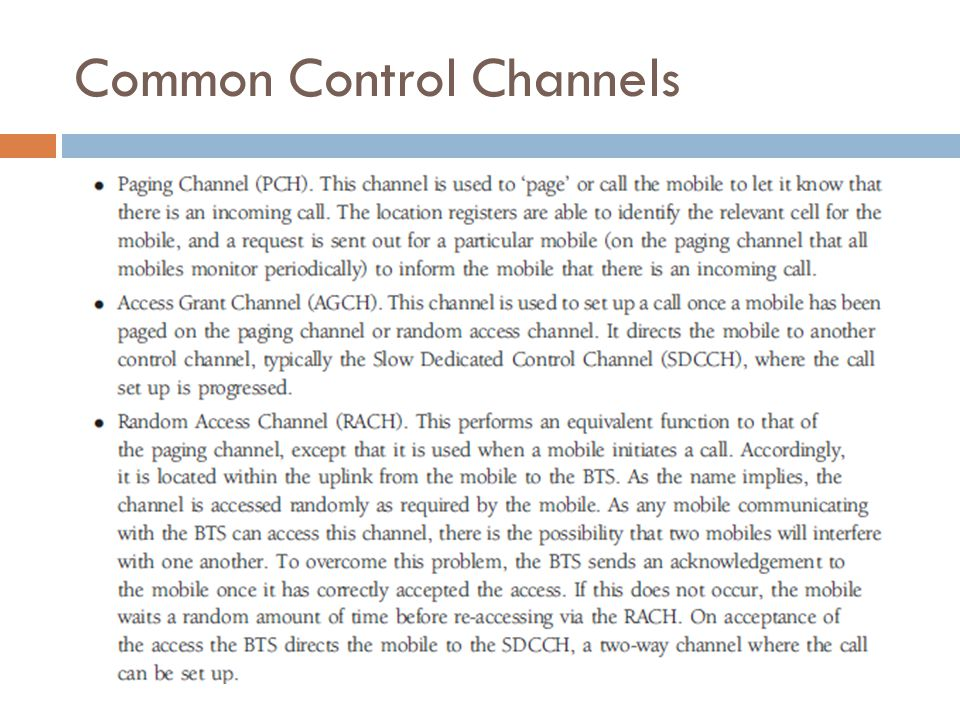 Dedicated Control Channels