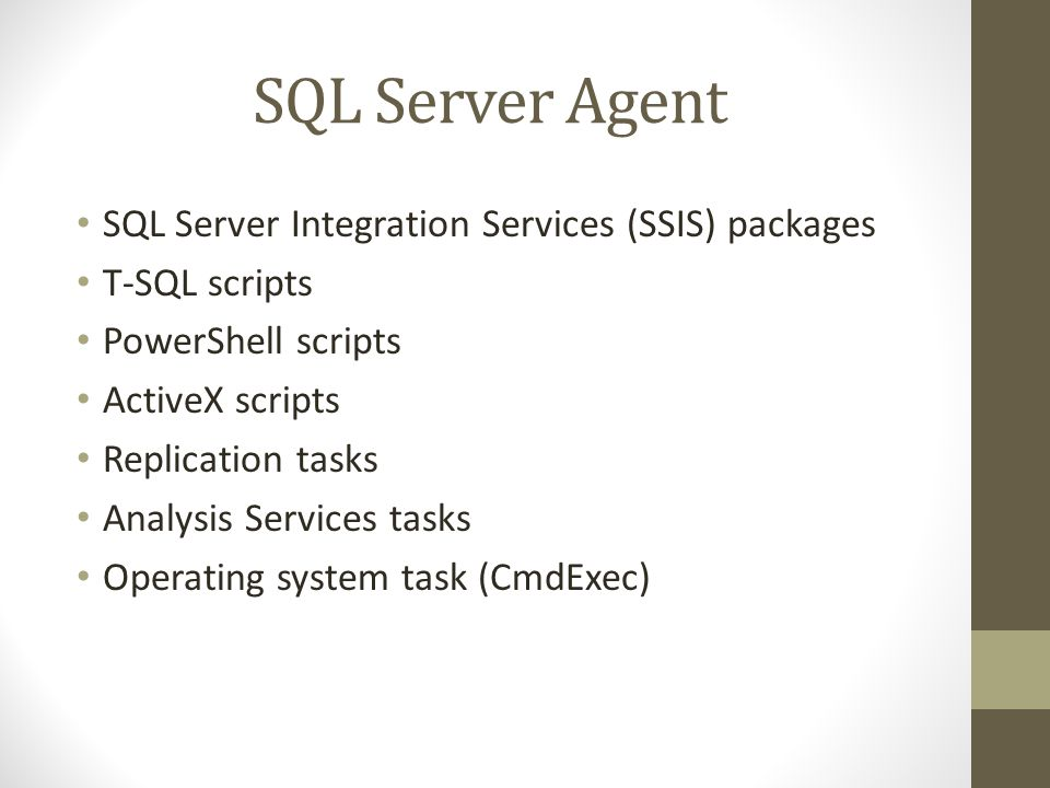 SQL Server Agent SQL Server Integration Services (SSIS) packages T-SQL scripts PowerShell scripts ActiveX scripts Replication tasks Analysis Services tasks Operating system task (CmdExec)